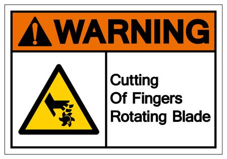 Warning Cutting of Fingers Rotating Blade Symbol Sign, Vector Illustration, Isolate On White Background Label . Ilustração