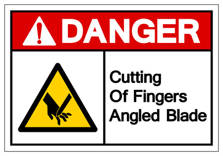 Danger Cutting Of Fingers Angled Blade Symbol Sign, Vector Illustration, Isolate On White Background Label .