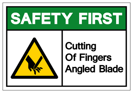 Safety First Cutting Of Fingers Angled Blade Symbol Sign, Vector Illustration, Isolate On White Background Label .