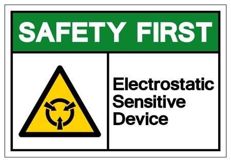 Safety First Electrostatic Sensitive Device (ESD) Symbol Sign, Vector Illustration, Isolate On White Background Label .