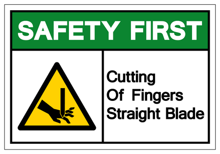 Safety First Cutting of Fingers Straight Blade Symbol Sign, Vector Illustration, Isolate On White Background Label .