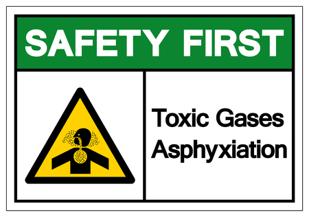 Safety First Toxic Gases Asphyxiation Symbol Sign, Vector Illustration, Isolate On White Background Label .