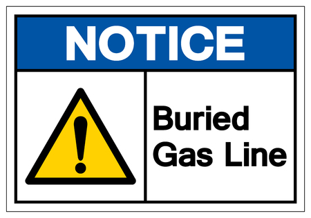 Notice Buried Gas Line Symbol Sign , Vector Illustration, Isolate On White Background Label.