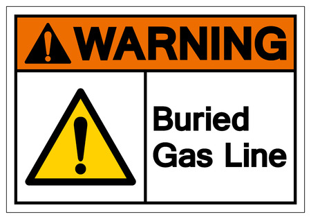 Warning Buried Gas Line Symbol Sign , Vector Illustration, Isolate On White Background Label.