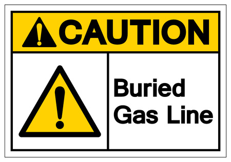 Caution Buried Gas Line Symbol Sign , Vector Illustration, Isolate On White Background Label.