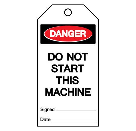 Danger Do Not Start This Machine Label Tag Symbol Sign,Vector Illustration, Isolate On White Background Label. Ilustração