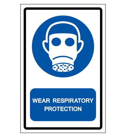 Wear Respiratory Protection Symbol Sign,Vector Illustration, Isolated On White Background Label. Ilustração