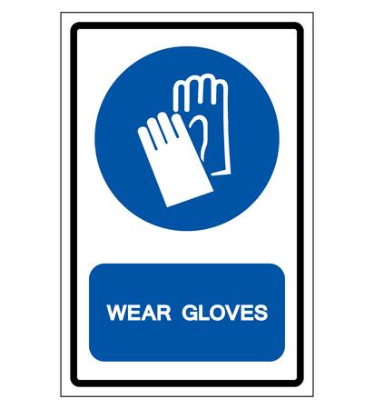 Wear Gloves Symbol Sign ,Vector Illustration, Isolate On White Background Label. Ilustração