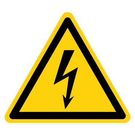 Signe de symbole d'électricité de danger, illustration vectorielle, isoler sur l'étiquette de fond blanc.