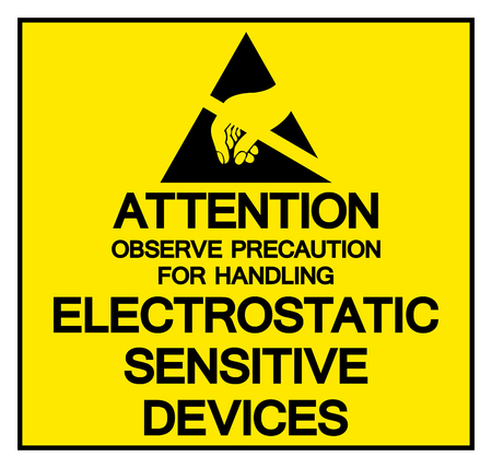 Attention Observe Precaution For Handling Electrostatic Sensitive Device Symbol Sign, Vector Illustration, Isolated On White Background Label . Illustration