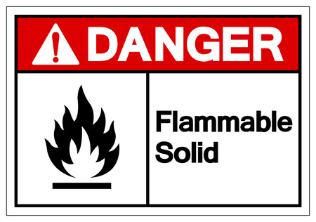 Danger Flammable Solid Symbol Sign ,Vector Illustration, Isolate On White Background Label .
