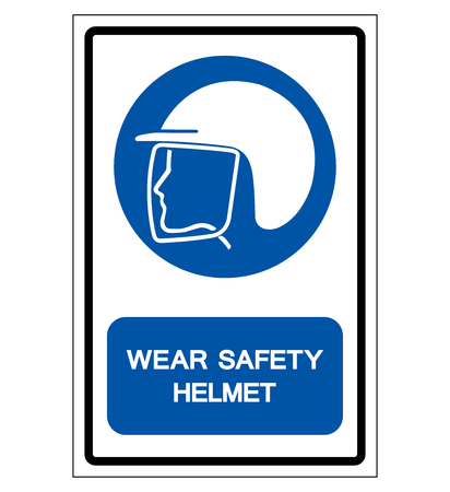 Wear Safety Helmet Symbol Sign,Vector Illustration, Isolated On White Background Label. EPS10