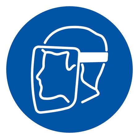 Le bouclier facial doit être porté, signe de symbole, illustration vectorielle, étiquette isolée sur fond blanc.