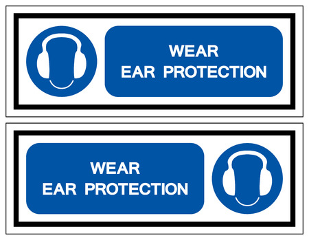 Wear Ear Protection Symbol Sign, Vector Illustration, Isolated On White Background Label. EPS10
