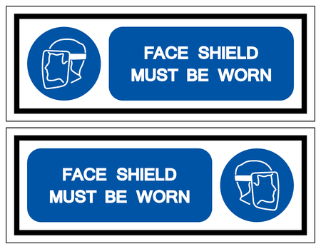 Face Shield Must Be Worn Symbol Sign,Vector Illustration, Isolated On White Background Label.