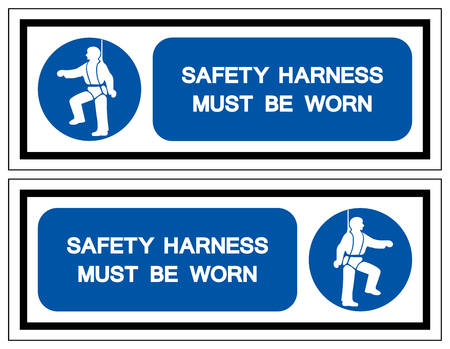 Safety Harness Must Be Worn Symbol Sign,Vector Illustration, Isolated On White Background Label. Ilustracja