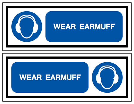 Wear Earmuff Symbol Sign,Vector Illustration, Isolated On White Background Label. Ilustração