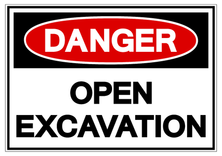 Danger Open Excavation Symbol Sign, Vector Illustration, Isolate On White Background Label. EPS10  Vectores