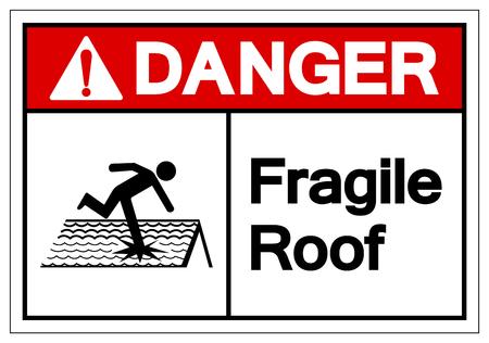 Niebezpieczeństwo kruche dach symbol znak, ilustracji wektorowych, izolować na etykiecie białe tło. EPS10