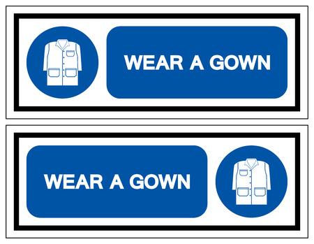 Wear A Gown Symbol Sign, Vector Illustration, Isolate On White Background Label . Ilustração