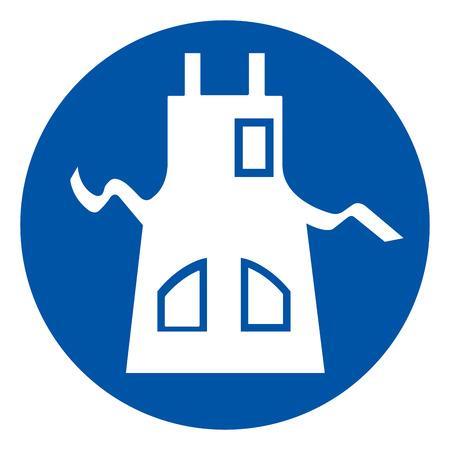 Use delantal símbolo signo, ilustración vectorial, aislar en etiqueta de fondo blanco.