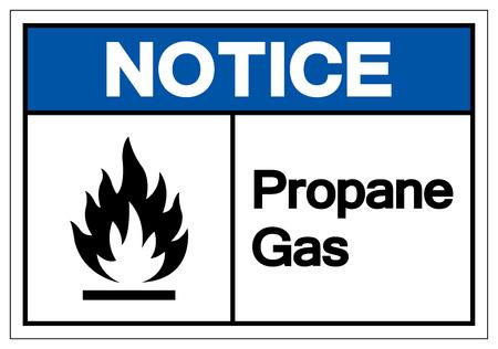 Beachten Sie Propangas-Symbol-Zeichen, Vektor-Illustration, auf weißem Hintergrund-Label zu isolieren. EPS10