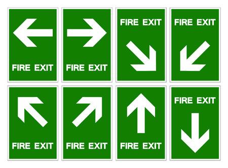 Conjunto de signo de símbolo de salida de incendio, ilustración vectorial, aislar en etiqueta de fondo blanco .EPS10