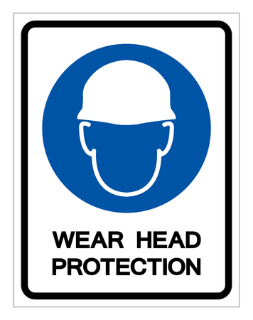 Wear Head Protection Symbol Sign,Vector Illustration, Isolated On White Background Label. EPS10