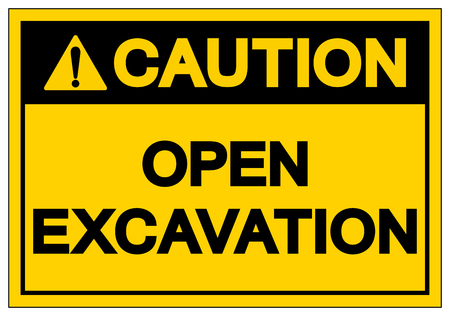 Caution Open Excavation Symbol Sign, Vector Illustration, Isolate On White Background Label. EPS10
