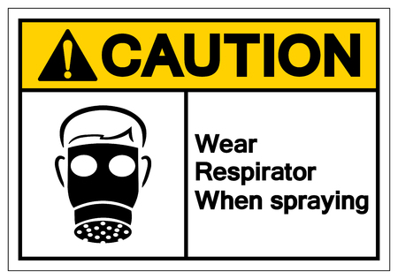 Caution Wear Respirator When Spraying Symbol Sign, Vector Illustration, Isolate On White Background Label. EPS10