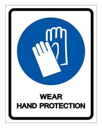 Wear Hand Protection Symbol Sign,Vector Illustration, Isolated On White Background Label. EPS10  Ilustração