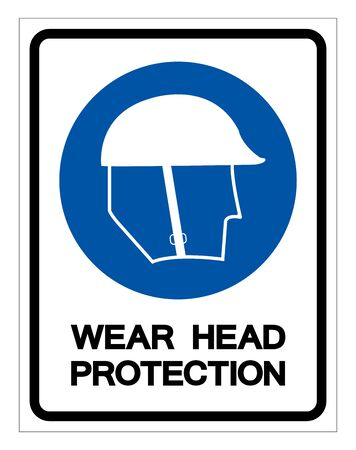 Wear Head Protection Symbol ,Vector Illustration, Isolate On White Background Label .EPS10