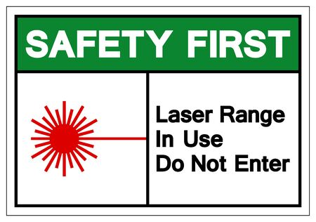 Safety First Laser Range In Use Do Not Enter Symbol Sign, Vector Illustration, Isolate On White Background Label. EPS10 Çizim