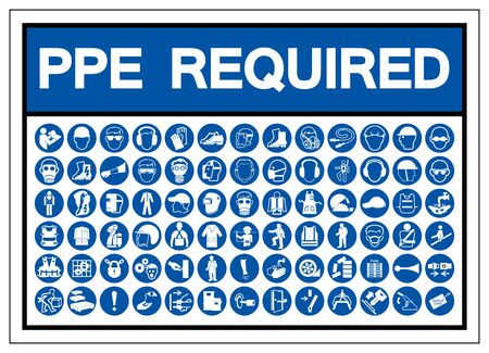 Signo de símbolo de PPE requerido, ilustración vectorial, aislado en etiqueta de fondo blanco .EPS10 Ilustración de vector