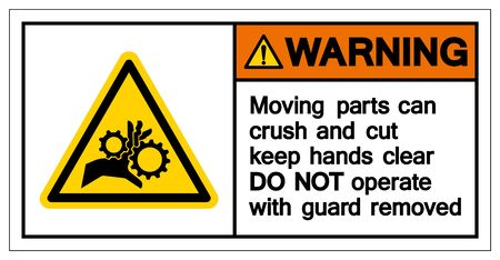 Warning Moving Part crush and cut keep hands clear Symbol Sign, Vector Illustration, Isolated On White Background Label .EPS10