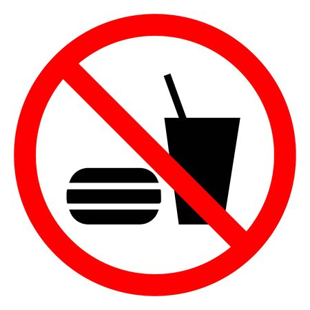 No Eating Or Drinking Symbol Sign, Vector Illustration, Isolate On White Background Label .EPS10 Stock Illustratie
