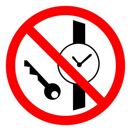 No Metallic Articles Or Watches Symbol Sign, Vector Illustration, Isolate On White Background Label .EPS10