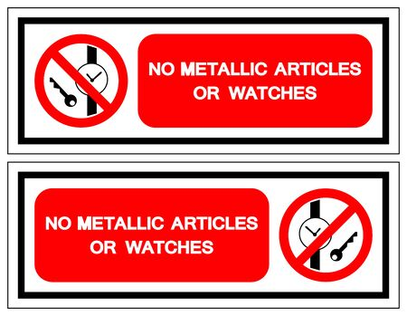 No Metallic Articles Or Watches Symbol Sign, Vector Illustration, Isolate On White Background Label .EPS10 Çizim