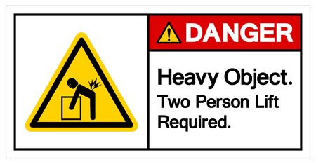Danger Heavy Object Two Person Lift Required Symbol Sign, Vector Illustration, Isolate On White Background Label .EPS10 Çizim