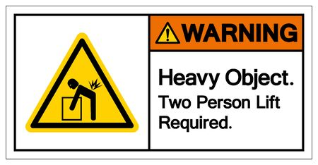 Warning Heavy Object Two Person Lift Required Symbol Sign, Vector Illustration, Isolate On White Background Label .EPS10