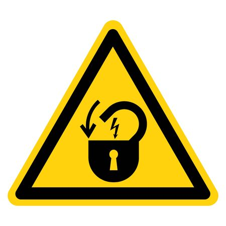 Lock Out Electrical Power Symbol Sign, Vector Illustration, Isolate On White Background Label .EPS10 Çizim