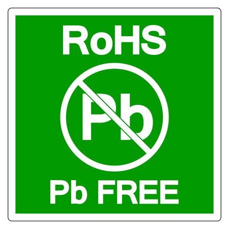 RoHS Pb Free Symbol Sign, Vector Illustration, Isolate On White Background Label. EPS10 Çizim