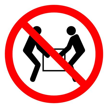 Injury Hazard Use Two Person Lift Symbol Sign, Vector Illustration, Isolate On White Background Label .EPS10 Çizim