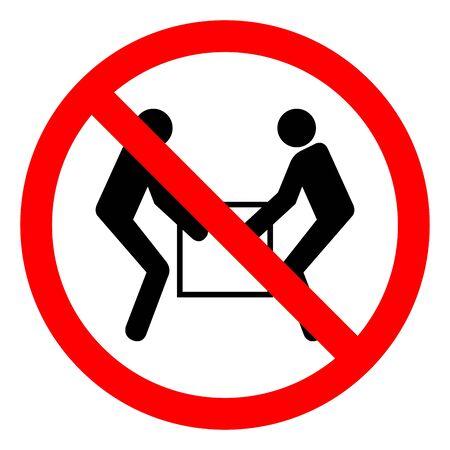 Injury Hazard Use Two Person Lift Symbol Sign, Vector Illustration, Isolate On White Background Label .EPS10 Ilustração