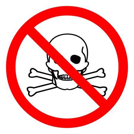Segno di simbolo del materiale tossico di pericolo di lesioni, illustrazione di vettore, isolare sull'etichetta bianca del fondo .EPS10