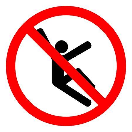 Letselgevaar klimmen gevaar symbool teken, vectorillustratie, isoleren op witte achtergrond label. EPS10 Vector Illustratie