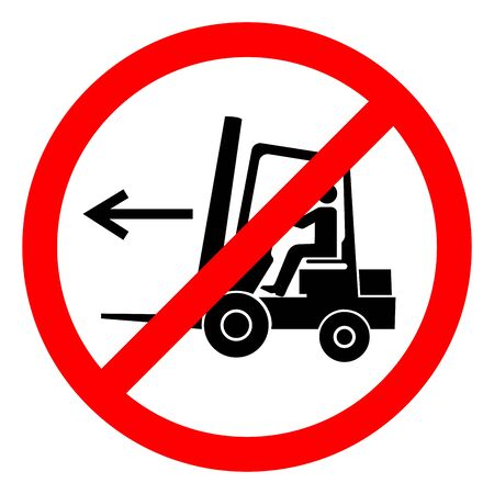 No Forklift Point Right Symbol Sign, Vector Illustration, Isolate On White Background Label .EPS10 Çizim