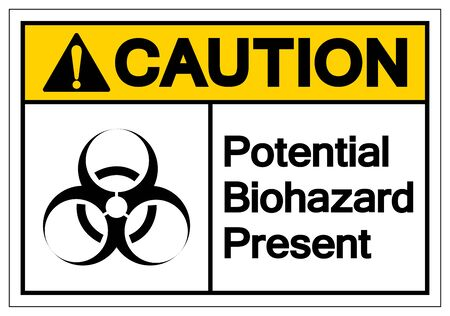Caution Potential Biohazard Present Symbol Sign, Vector Illustration, Isolated On White Background Label