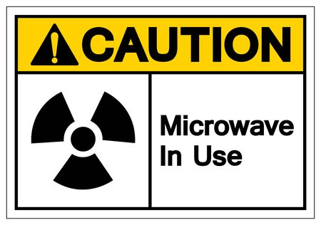 Caution Microwave In Use Symbol Sign, Vector Illustration, Isolate On White Background Label