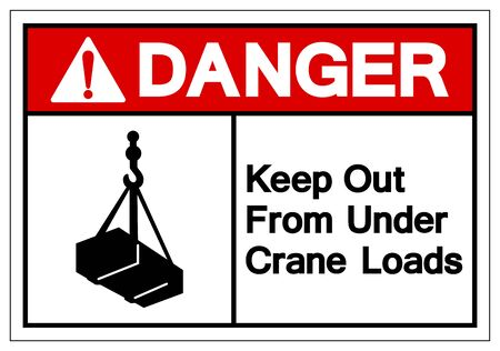 Danger Keep Out From Under Crane Loads Symbol Sign, Vector Illustration, Isolate On White Background Label Çizim